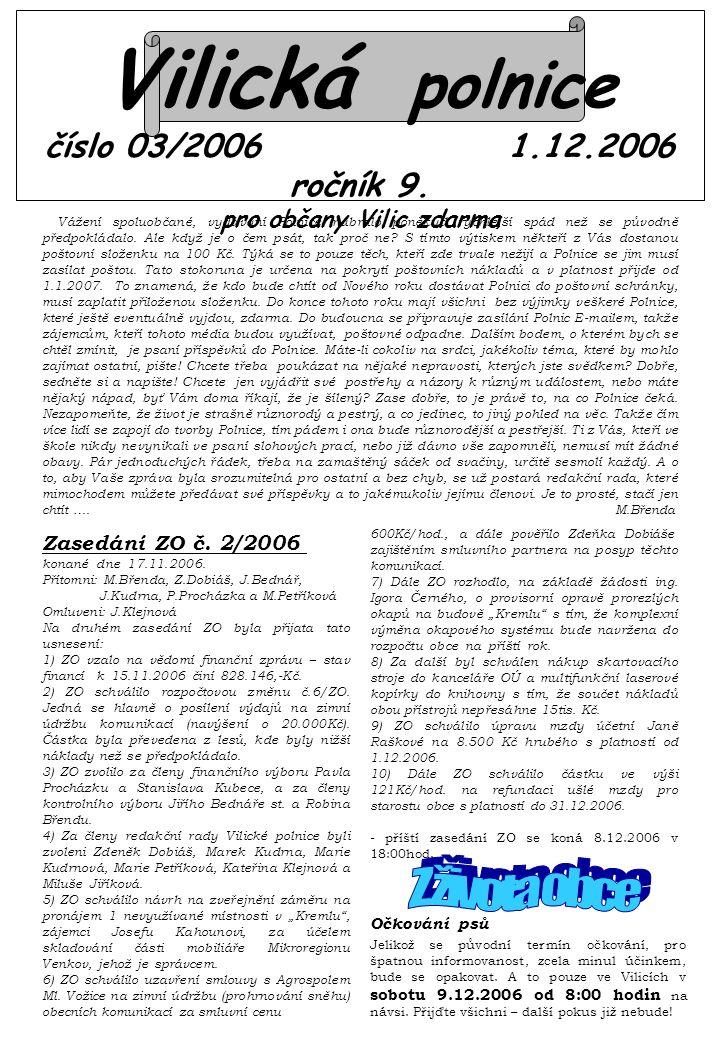Vilická polnice číslo 03/2006 1.12.2006 ročník 9.