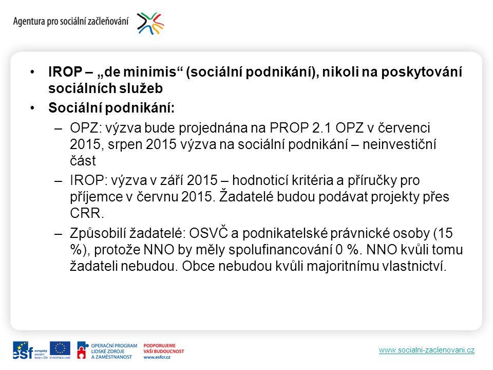 """www.socialni-zaclenovani.cz IROP – """"de minimis (sociální podnikání), nikoli na poskytování sociálních služeb Sociální podnikání: –OPZ: výzva bude projednána na PROP 2.1 OPZ v červenci 2015, srpen 2015 výzva na sociální podnikání – neinvestiční část –IROP: výzva v září 2015 – hodnoticí kritéria a příručky pro příjemce v červnu 2015."""
