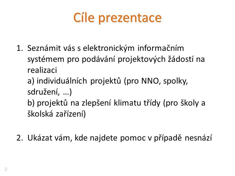 Cíle prezentace 1.Seznámit vás s elektronickým informačním systémem pro podávání projektových žádostí na realizaci a) individuálních projektů (pro NNO, spolky, sdružení, …) b) projektů na zlepšení klimatu třídy (pro školy a školská zařízení) 2.Ukázat vám, kde najdete pomoc v případě nesnází 2