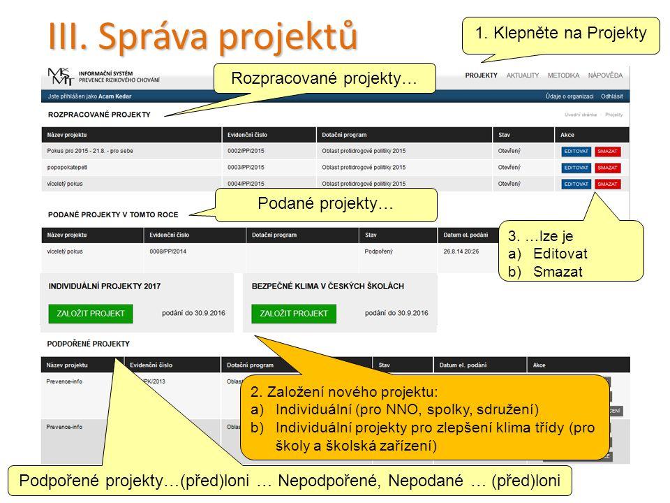 III. Správa projektů 3. …lze je a)Editovat b)Smazat 20 Rozpracované projekty… 1.