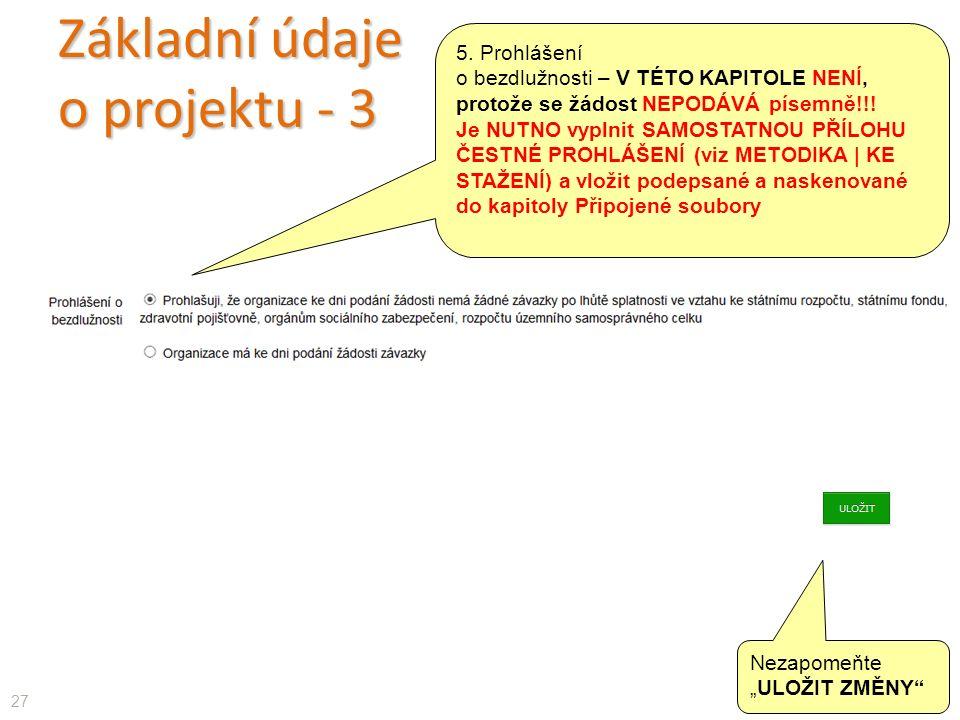 Základní údaje o projektu - 3 27 5.