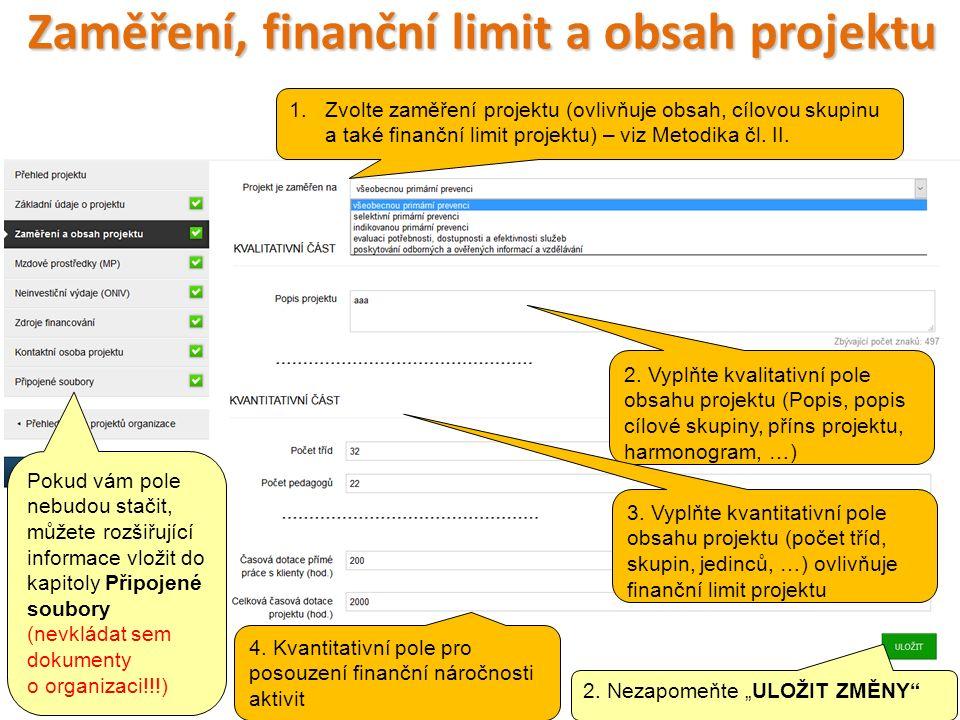 Zaměření, finanční limit a obsah projektu 28 2.