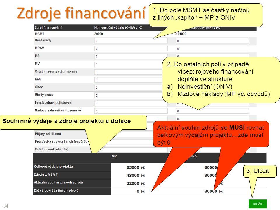 """Zdroje financování 34 1. Do pole MŠMT se částky načtou z jiných """"kapitol – MP a ONIV 2."""