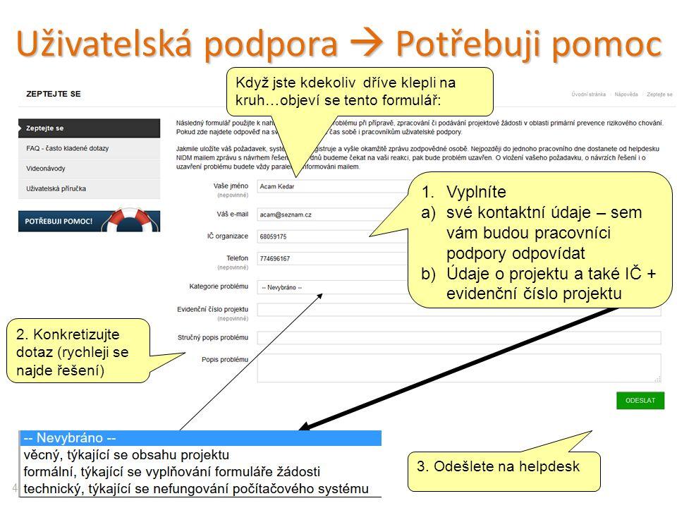 Uživatelská podpora  Potřebuji pomoc 43 1.Vyplníte a)své kontaktní údaje – sem vám budou pracovníci podpory odpovídat b)Údaje o projektu a také IČ + evidenční číslo projektu 2.