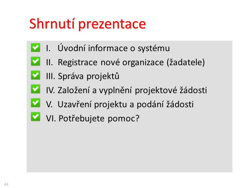Shrnutí prezentace I. Úvodní informace o systému II.