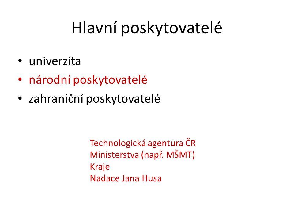 univerzita národní poskytovatelé zahraniční poskytovatelé Technologická agentura ČR Ministerstva (např. MŠMT) Kraje Nadace Jana Husa