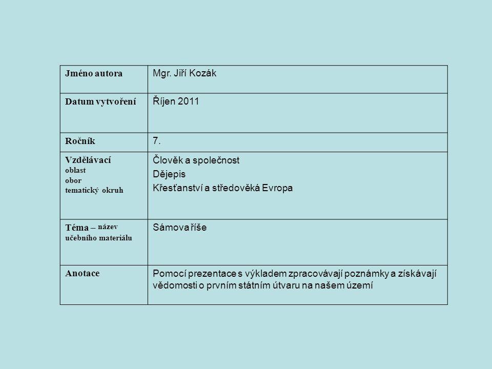Jméno autora Mgr.Jiří Kozák Datum vytvoření Říjen 2011 Ročník 7.