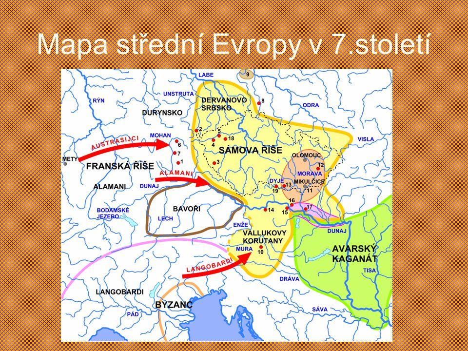Mapa střední Evropy v 7.století