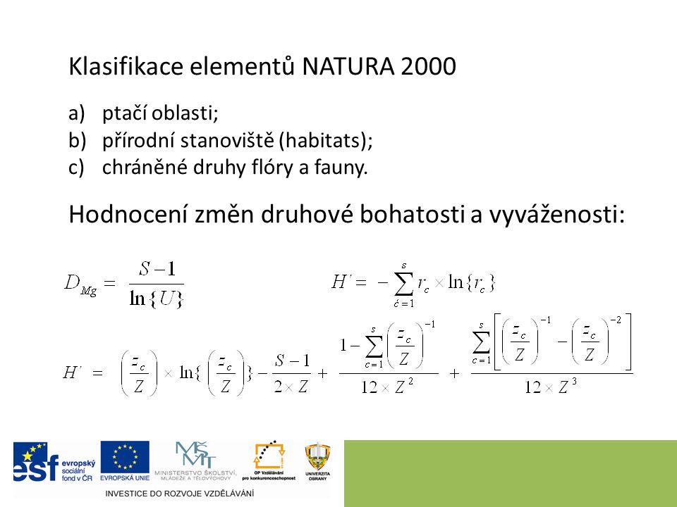 Klasifikace elementů NATURA 2000 a)ptačí oblasti; b)přírodní stanoviště (habitats); c)chráněné druhy flóry a fauny.