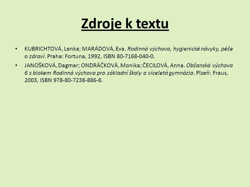 Zdroje k textu KUBRICHTOVÁ, Lenka; MARÁDOVÁ, Eva. Rodinná výchova, hygienické návyky, péče o zdraví. Praha: Fortuna, 1992, ISBN 80-7168-040-0. JANOŠKO