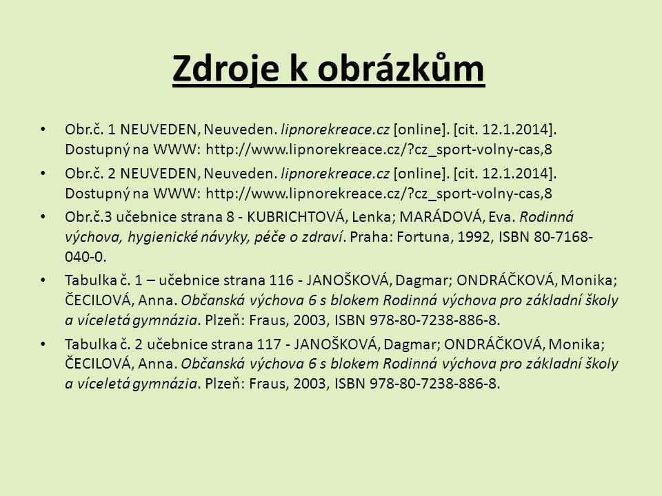 Zdroje k obrázkům Obr.č. 1 NEUVEDEN, Neuveden. lipnorekreace.cz [online]. [cit. 12.1.2014]. Dostupný na WWW: http://www.lipnorekreace.cz/?cz_sport-vol