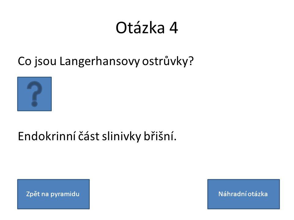 Otázka 4 Co jsou Langerhansovy ostrůvky? Endokrinní část slinivky břišní. Zpět na pyramiduNáhradní otázka