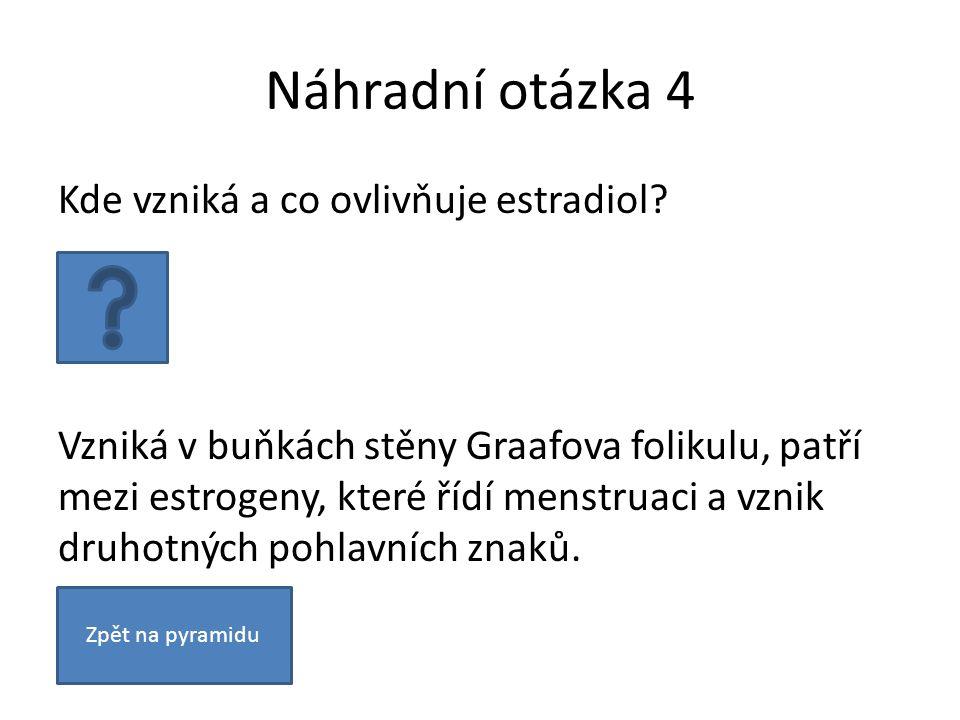 Náhradní otázka 4 Kde vzniká a co ovlivňuje estradiol? Vzniká v buňkách stěny Graafova folikulu, patří mezi estrogeny, které řídí menstruaci a vznik d