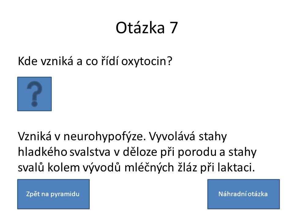 Otázka 7 Kde vzniká a co řídí oxytocin? Vzniká v neurohypofýze. Vyvolává stahy hladkého svalstva v děloze při porodu a stahy svalů kolem vývodů mléčný
