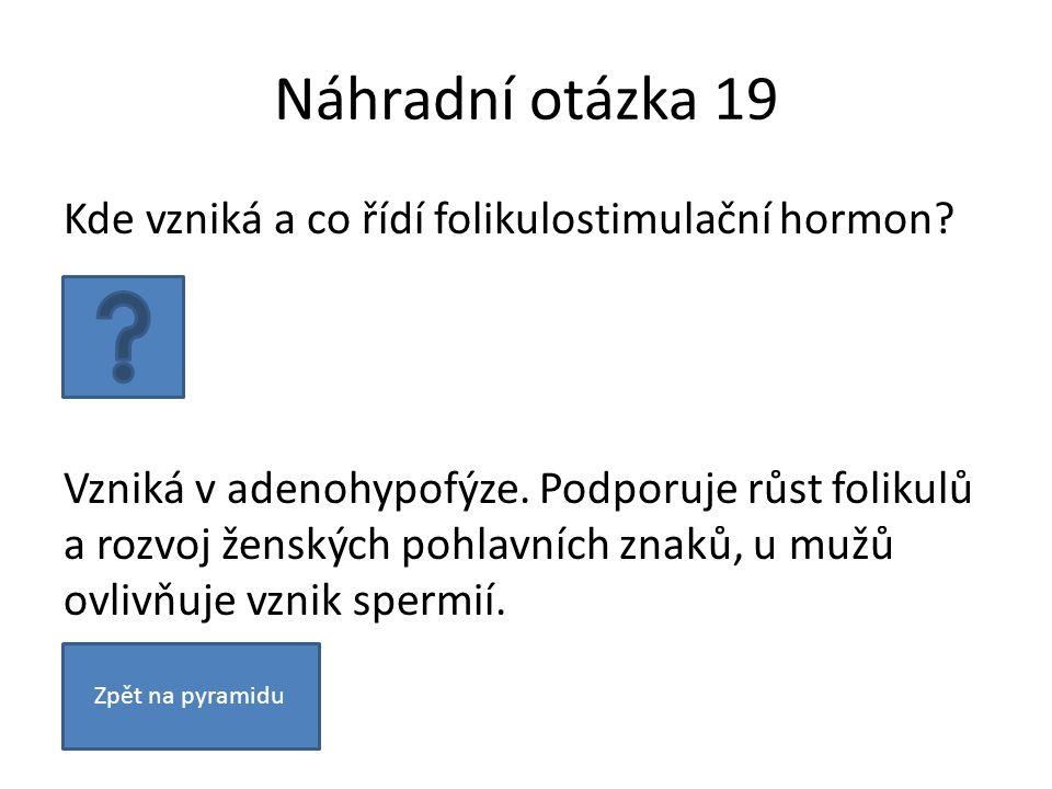 Náhradní otázka 19 Kde vzniká a co řídí folikulostimulační hormon? Vzniká v adenohypofýze. Podporuje růst folikulů a rozvoj ženských pohlavních znaků,