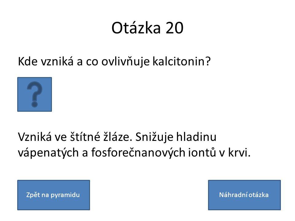 Otázka 20 Kde vzniká a co ovlivňuje kalcitonin? Vzniká ve štítné žláze. Snižuje hladinu vápenatých a fosforečnanových iontů v krvi. Zpět na pyramiduNá