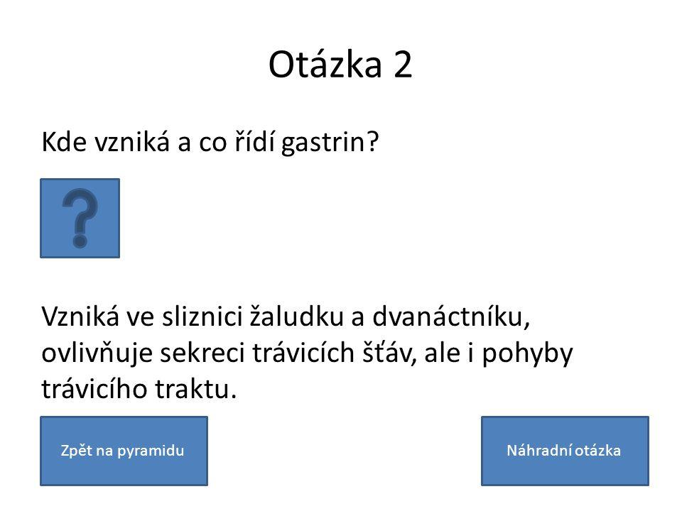 Otázka 2 Kde vzniká a co řídí gastrin.