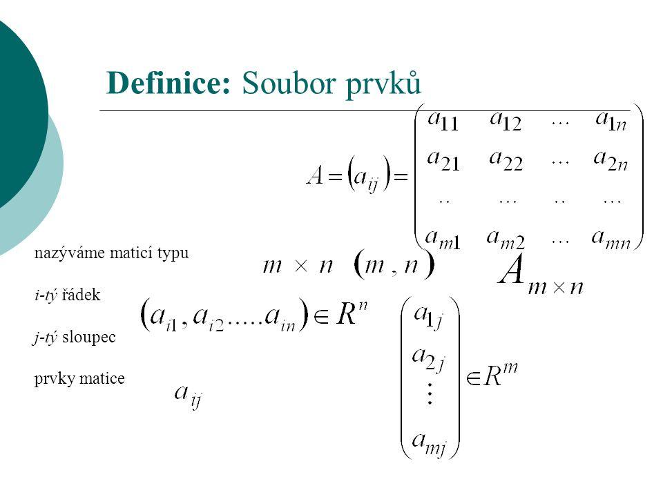 Definice: Soubor prvků nazýváme maticí typu i-tý řádek j-tý sloupec prvky matice