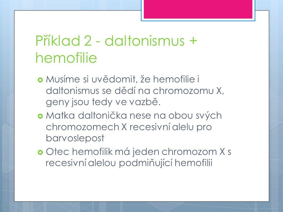 Příklad 2 - daltonismus + hemofilie  Musíme si uvědomit, že hemofilie i daltonismus se dědí na chromozomu X, geny jsou tedy ve vazbě.