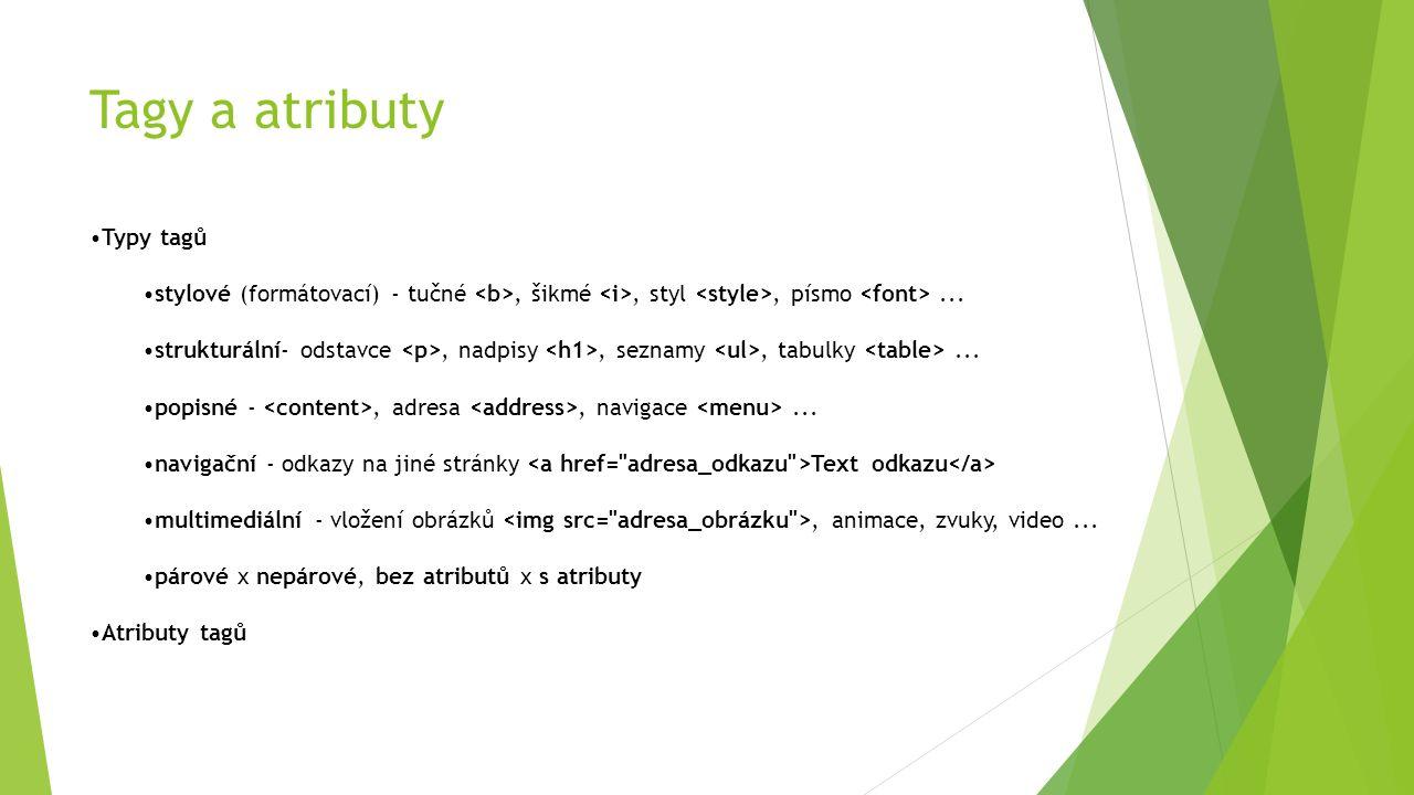 Tagy a atributy Typy tagů stylové (formátovací) - tučné, šikmé, styl, písmo... strukturální- odstavce, nadpisy, seznamy, tabulky... popisné -, adresa,
