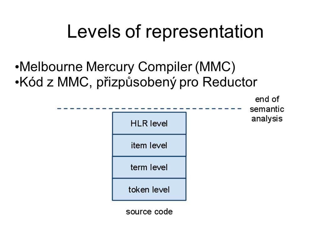 Levels of representation Melbourne Mercury Compiler (MMC) Kód z MMC, přizpůsobený pro Reductor