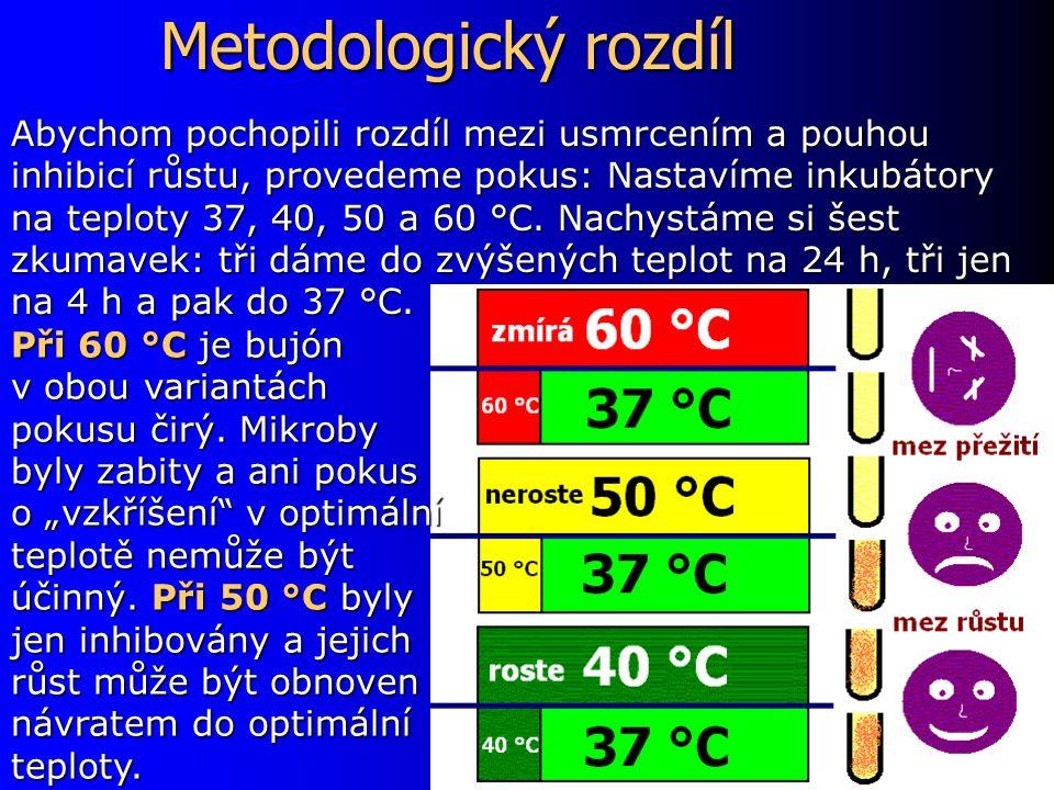 Metodologický rozdíl Při 60 °C je bujón v obou variantách pokusu čirý.