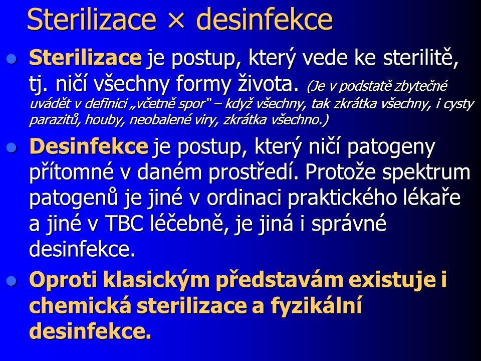 Sterilizace × desinfekce Sterilizace je postup, který vede ke sterilitě, tj.
