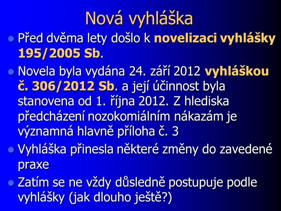 Nová vyhláška Před dvěma lety došlo k novelizaci vyhlášky 195/2005 Sb.