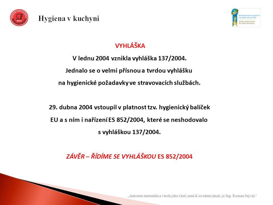 VYHLÁŠKA V lednu 2004 vznikla vyhláška 137/2004. Jednalo se o velmi přísnou a tvrdou vyhlášku na hygienické požadavky ve stravovacích službách. 29. du