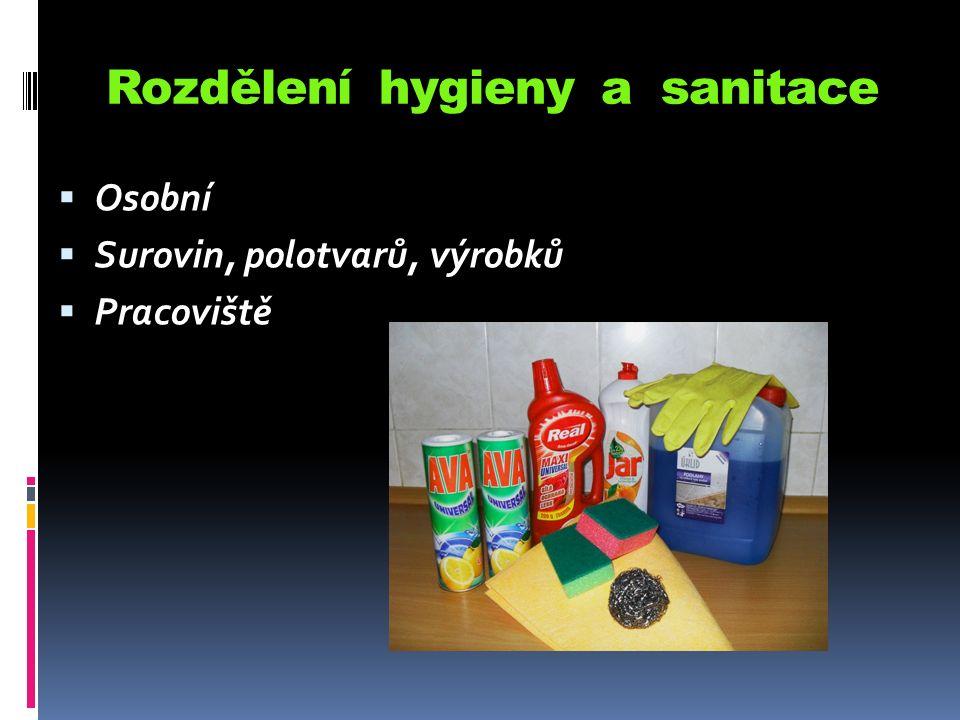 Rozdělení hygieny a sanitace  Osobní  Surovin, polotvarů, výrobků  Pracoviště