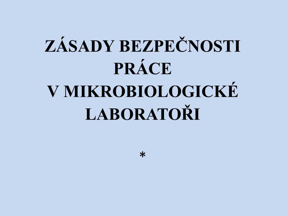 ZÁSADY BEZPEČNOSTI PRÁCE V MIKROBIOLOGICKÉ LABORATOŘI *