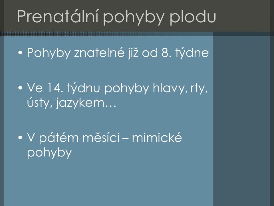 Období novorozence Vymezeno šestinedělím Období nepodmíněných reflexů 1) normální u novorozenců i dospělých (obranné) 2) normální u novorozenců, v dospělosti patologické (sací reflex) 3) vyhasínající