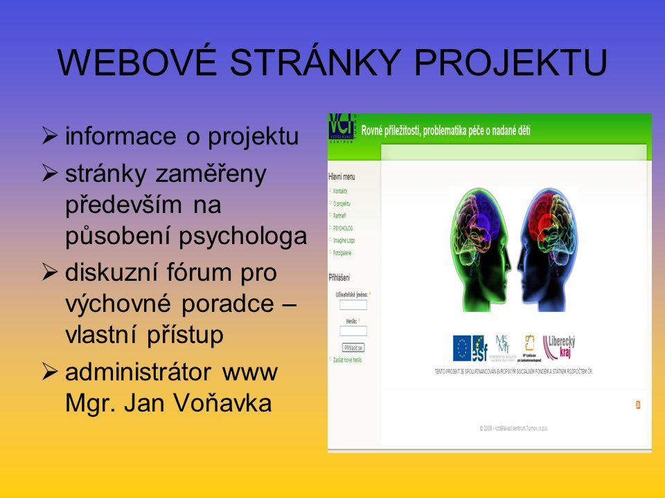 WEBOVÉ STRÁNKY PROJEKTU  informace o projektu  stránky zaměřeny především na působení psychologa  diskuzní fórum pro výchovné poradce – vlastní přístup  administrátor www Mgr.