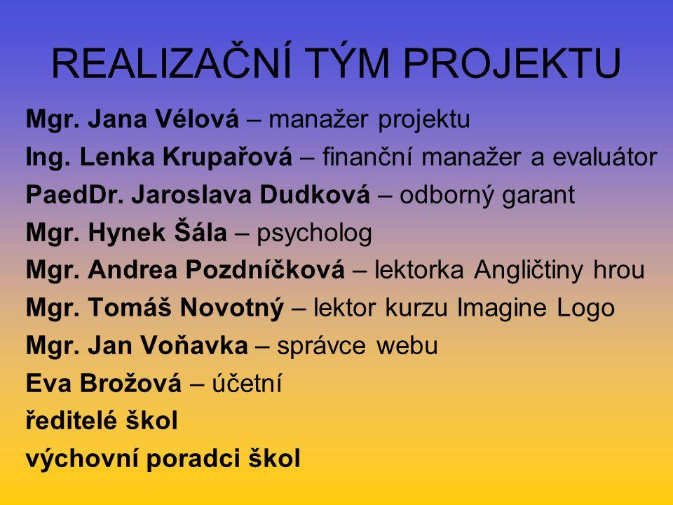 REALIZAČNÍ TÝM PROJEKTU Mgr. Jana Vélová – manažer projektu Ing.