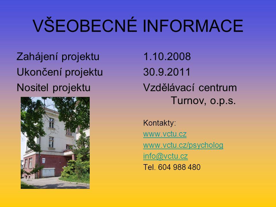 VŠEOBECNÉ INFORMACE Zahájení projektu Ukončení projektu Nositel projektu 1.10.2008 30.9.2011 Vzdělávací centrum Turnov, o.p.s. Kontakty: www.vctu.cz w