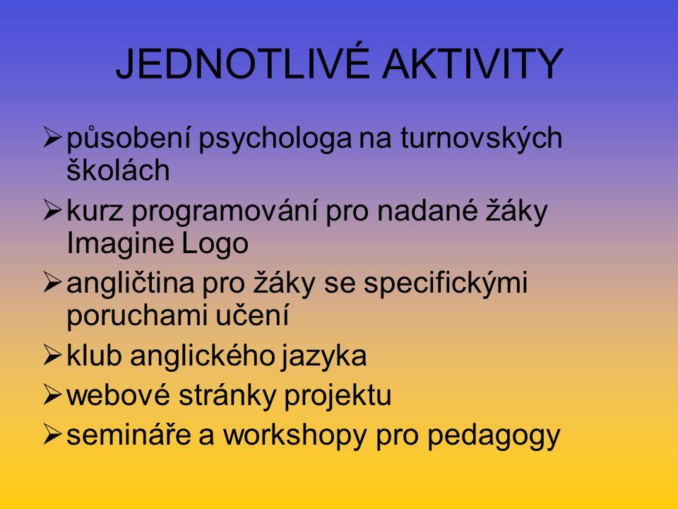 JEDNOTLIVÉ AKTIVITY  působení psychologa na turnovských školách  kurz programování pro nadané žáky Imagine Logo  angličtina pro žáky se specifickým