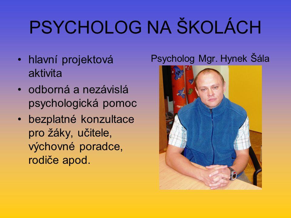 PSYCHOLOG NA ŠKOLÁCH hlavní projektová aktivita odborná a nezávislá psychologická pomoc bezplatné konzultace pro žáky, učitele, výchovné poradce, rodiče apod.