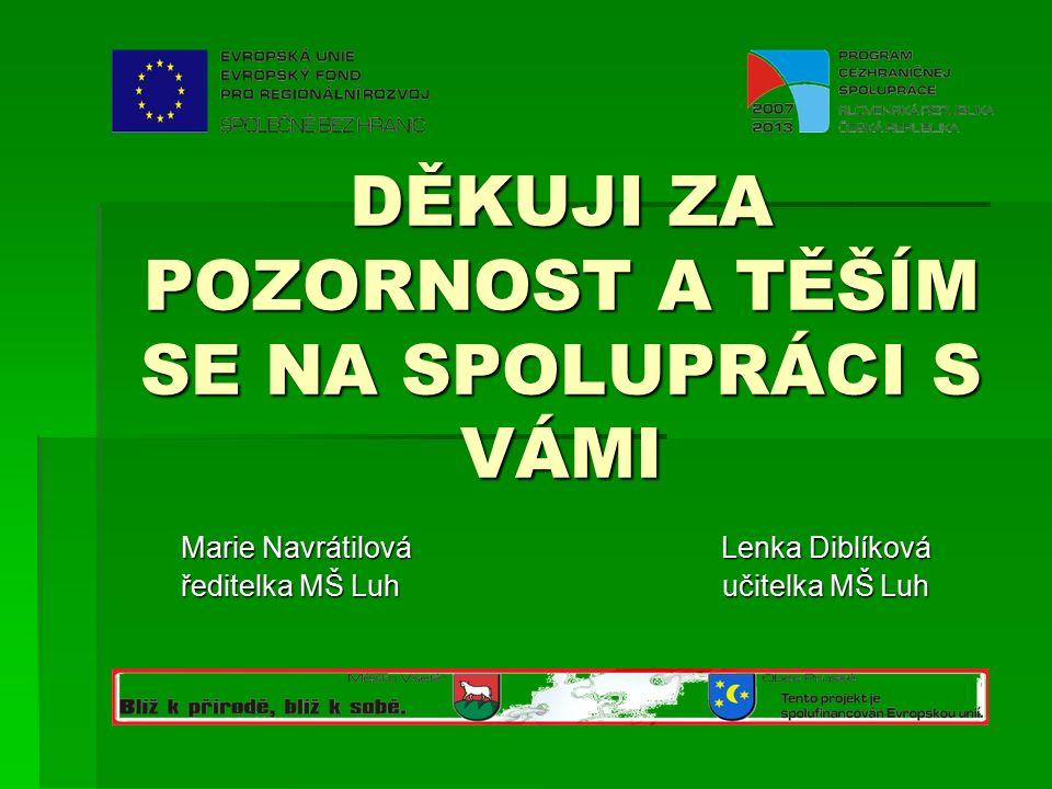 DĚKUJI ZA POZORNOST A TĚŠÍM SE NA SPOLUPRÁCI S VÁMI Marie Navrátilová Lenka Diblíková ředitelka MŠ Luh učitelka MŠ Luh