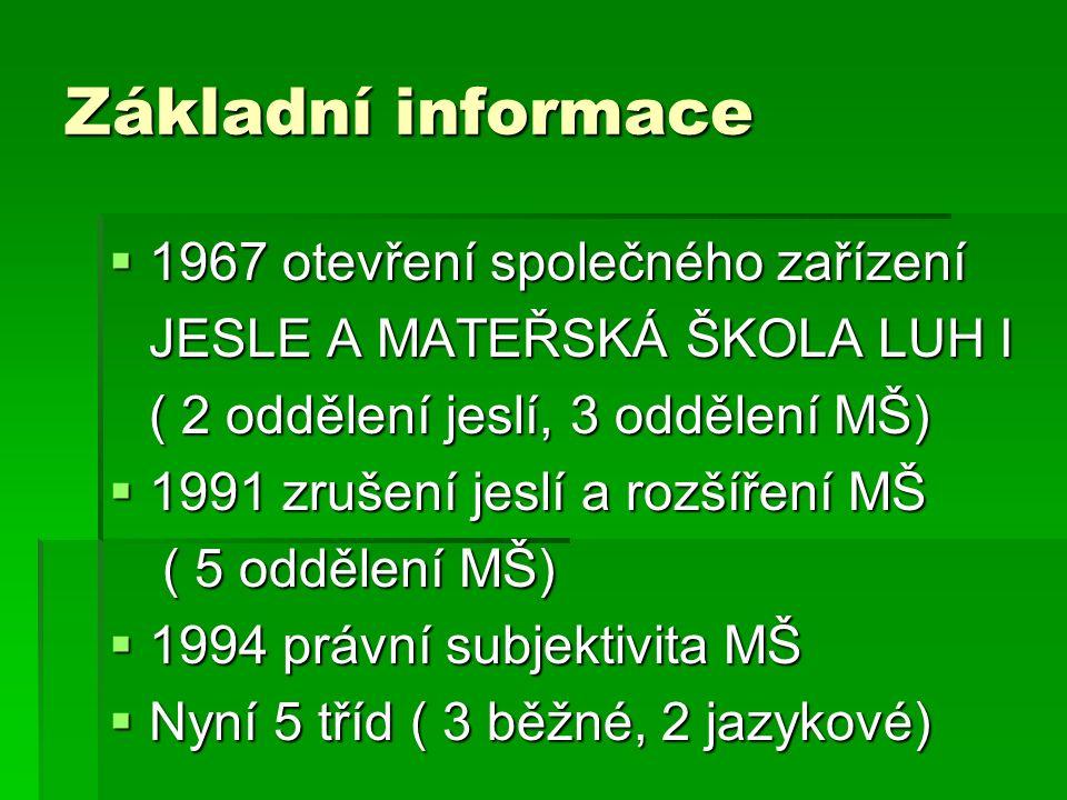 Základní informace  1967 otevření společného zařízení JESLE A MATEŘSKÁ ŠKOLA LUH I ( 2 oddělení jeslí, 3 oddělení MŠ)  1991 zrušení jeslí a rozšíření MŠ ( 5 oddělení MŠ)  1994 právní subjektivita MŠ  Nyní 5 tříd ( 3 běžné, 2 jazykové)
