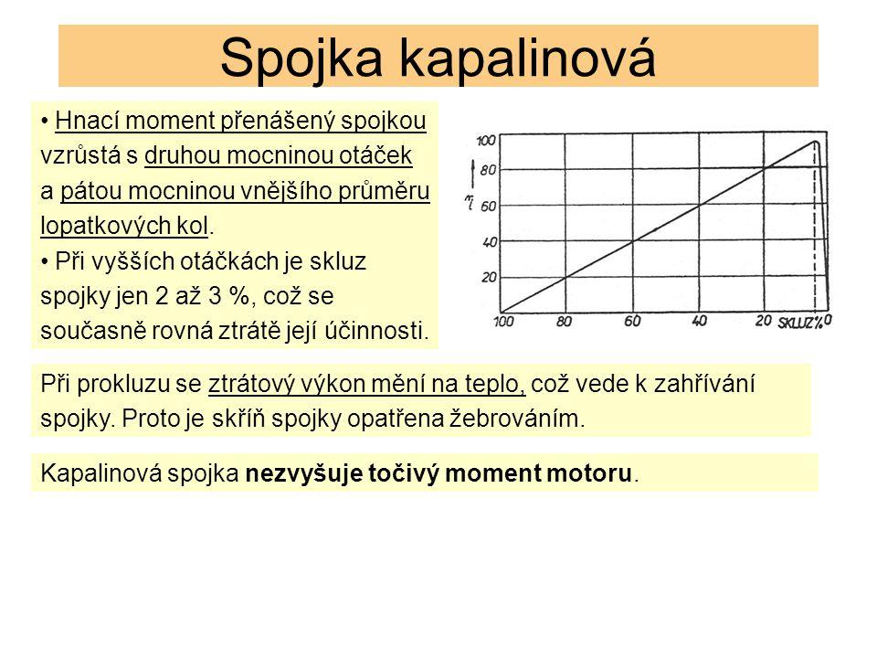 Spojka kapalinová Hnací moment přenášený spojkou vzrůstá s druhou mocninou otáček a pátou mocninou vnějšího průměru lopatkových kol.