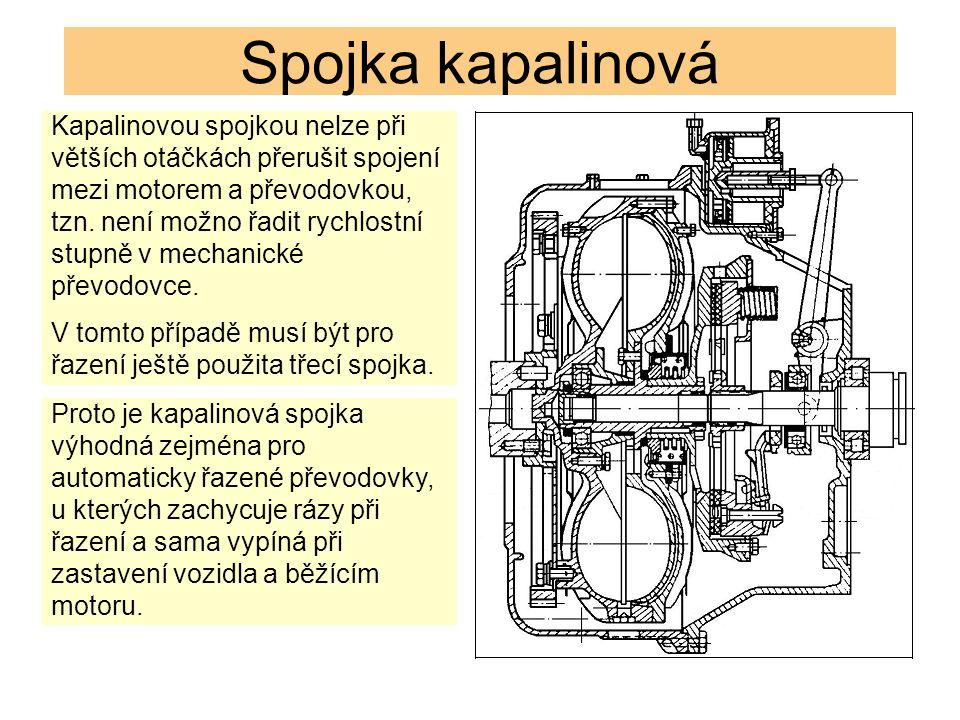 Spojka kapalinová Kapalinovou spojkou nelze při větších otáčkách přerušit spojení mezi motorem a převodovkou, tzn.