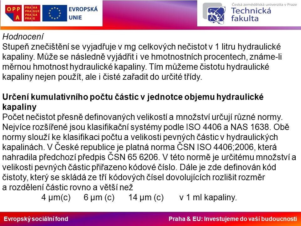 Evropský sociální fond Praha & EU: Investujeme do vaší budoucnosti Hodnocení Stupeň znečištění se vyjadřuje v mg celkových nečistot v 1 litru hydrauli