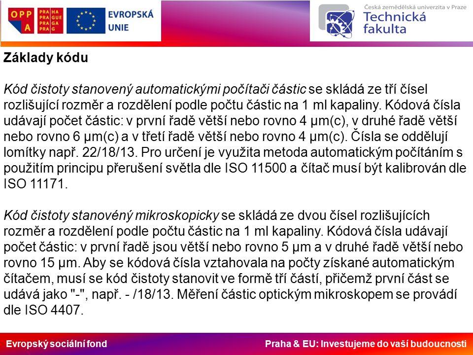 Evropský sociální fond Praha & EU: Investujeme do vaší budoucnosti Základy kódu Kód čistoty stanovený automatickými počítači částic se skládá ze tří čísel rozlišující rozměr a rozdělení podle počtu částic na 1 ml kapaliny.