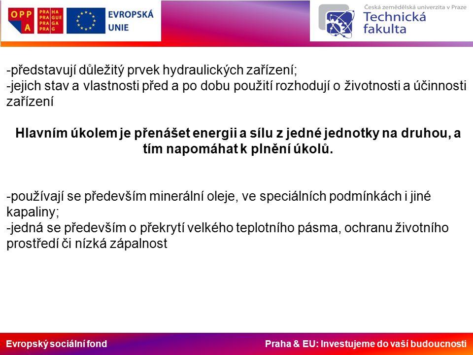 Evropský sociální fond Praha & EU: Investujeme do vaší budoucnosti Základními funkcemi jsou: 1)přenos tlaku a pohybu při minimálních ztrátách a beze změn vlastního oleje; 2)omezení tření a otěru; 3)ochrana mazaných povrchových kovových ploch proti korozivním vlivům a chemickému rozkladu (i po odstavení zařízení); 4)odvod tepla; 5)utěsnění mezi jednotlivými prvky stroje.