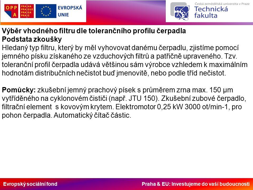 Evropský sociální fond Praha & EU: Investujeme do vaší budoucnosti Výběr vhodného filtru dle tolerančního profilu čerpadla Podstata zkoušky Hledaný ty