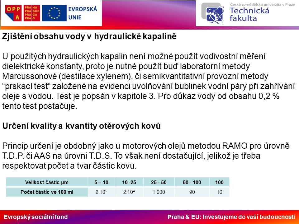 Evropský sociální fond Praha & EU: Investujeme do vaší budoucnosti Zjištění obsahu vody v hydraulické kapalině U použitých hydraulických kapalin není
