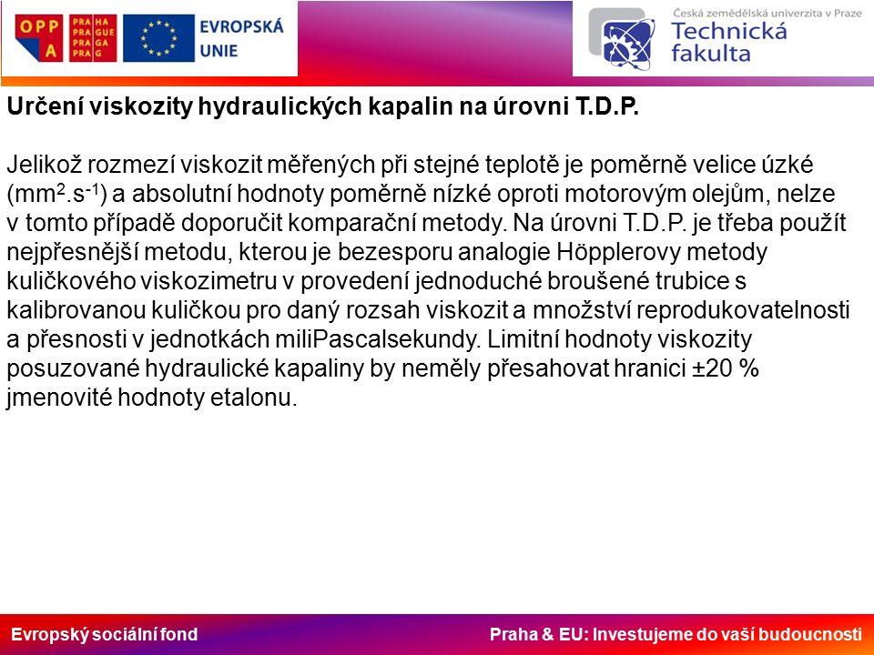 Evropský sociální fond Praha & EU: Investujeme do vaší budoucnosti Určení viskozity hydraulických kapalin na úrovni T.D.P. Jelikož rozmezí viskozit mě