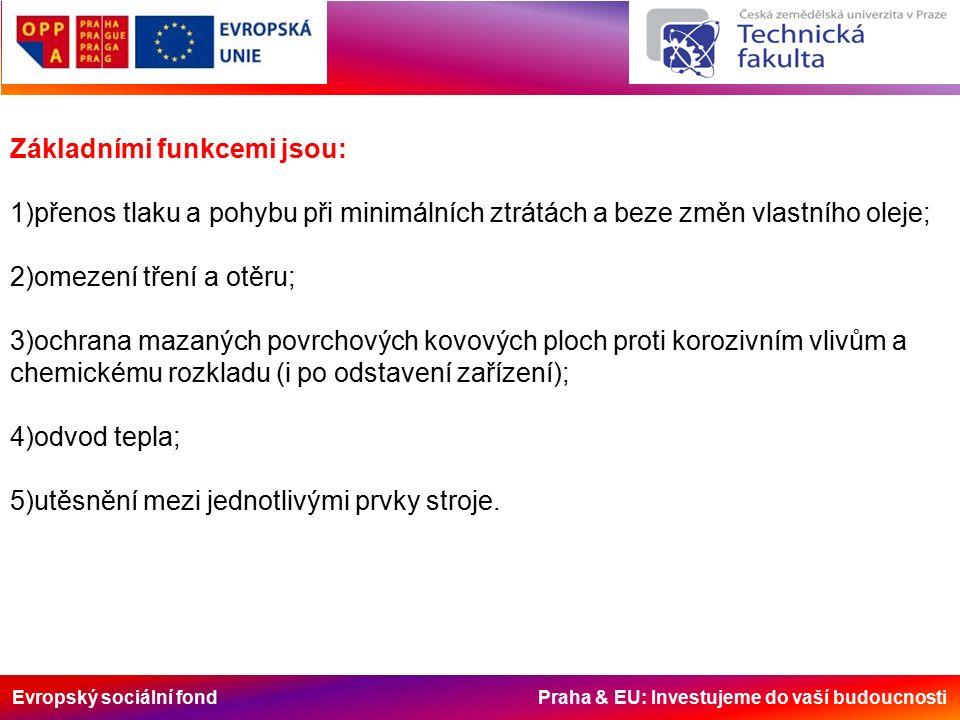 Evropský sociální fond Praha & EU: Investujeme do vaší budoucnosti Hydraulické oleje jsou především určeny k přenosu výkonu a nikoliv mazání.