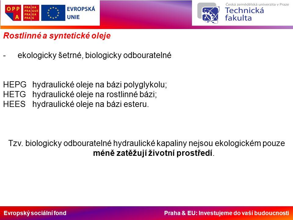 Evropský sociální fond Praha & EU: Investujeme do vaší budoucnosti Rostlinné a syntetické oleje -ekologicky šetrné, biologicky odbouratelné HEPGhydraulické oleje na bázi polyglykolu; HETGhydraulické oleje na rostlinné bázi; HEEShydraulické oleje na bázi esteru.