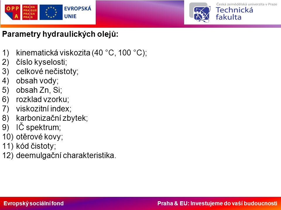 Evropský sociální fond Praha & EU: Investujeme do vaší budoucnosti Parametry hydraulických olejů: 1)kinematická viskozita (40 °C, 100 °C); 2)číslo kyselosti; 3)celkové nečistoty; 4)obsah vody; 5)obsah Zn, Si; 6)rozklad vzorku; 7)viskozitní index; 8)karbonizační zbytek; 9)IČ spektrum; 10)otěrové kovy; 11)kód čistoty; 12)deemulgační charakteristika.